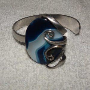 Artisan Fork Jewelry Glass Oval Cabochon Bracelet